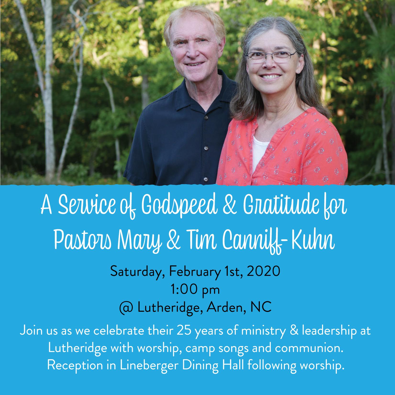 Celebration of Pastors Mary & Tim Canniff-Kuhn