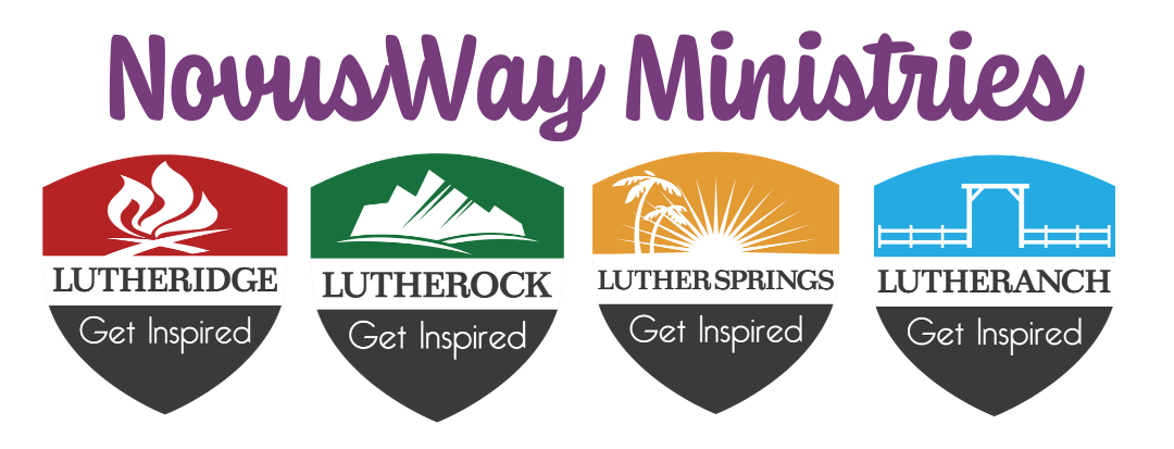 NovusWay Ministries with Lutheridge, Lutherock, Luther Springs, Lutheranch site shields